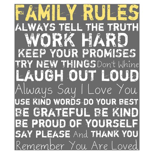 Family Rules I Textual Art on Canvas in Gray
