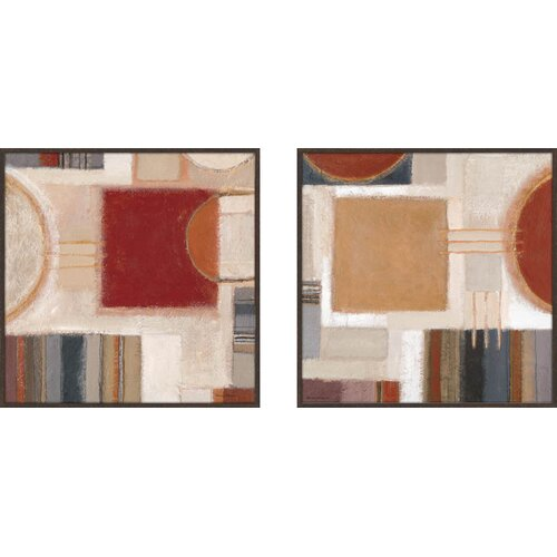 Pro Tour Memorabilia Rust Block 2 Piece Framed Painting Print Set