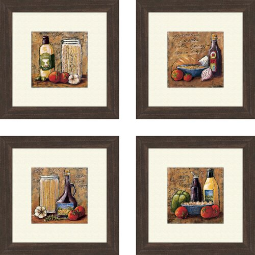 Kitchen Rustic 4 Piece Framed Painting Print Set