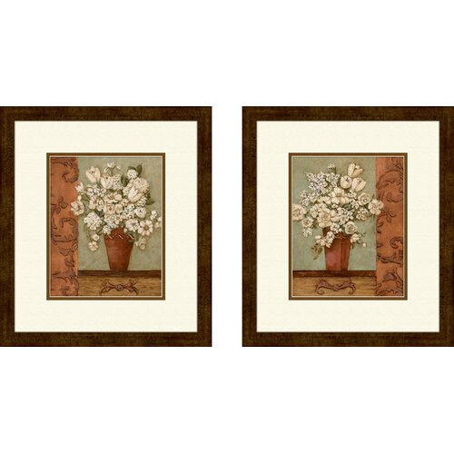 Floral Intaglio 2 Piece Framed Painting Print Set