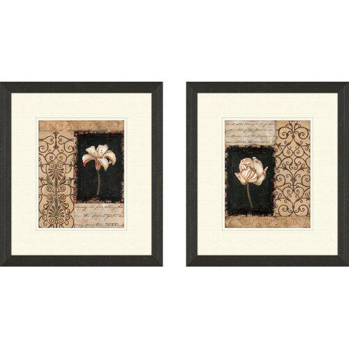 Pro Tour Memorabilia Floral Night Florescence 2 Piece Framed Graphic Art Set