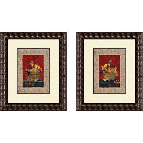 Kitchen Traditional Fruit Basket 2 Piece Framed Graphic Art Set