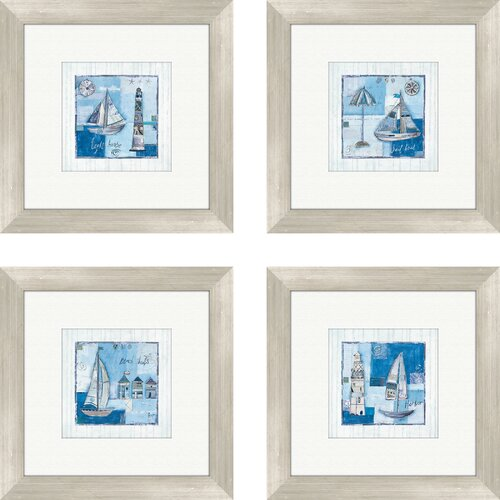 Pro Tour Memorabilia Coastal Light House and Sailboats 4 Piece Framed Graphic Art Set