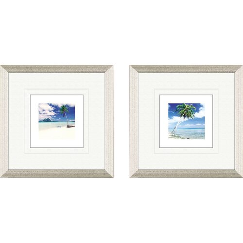 Pro Tour Memorabilia Coastal Palm Tree Beach 2 Piece Framed Painting Print Set
