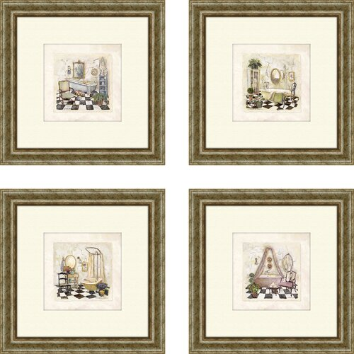 Pro Tour Memorabilia Bath Salon de Bain 4 Piece Framed Painting Print Set