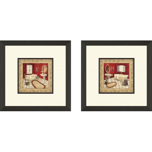 Pro Tour Memorabilia Bath Salon Rouge 2 Piece Framed Painting Print Set