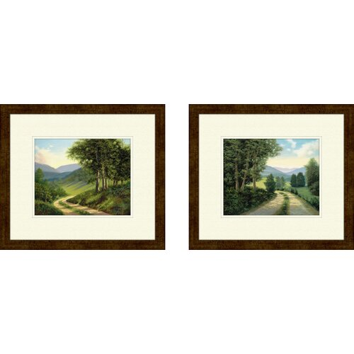 Pro Tour Memorabilia Landscape The Road Home 2 Piece Framed Painting Print Set