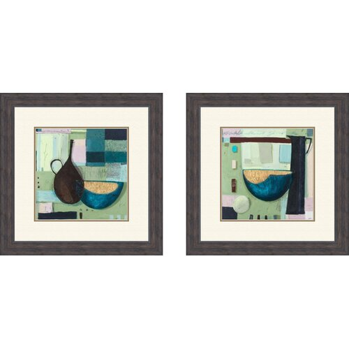 Pro Tour Memorabilia Contemporary Bowl 2 Piece Framed Painting Print Set
