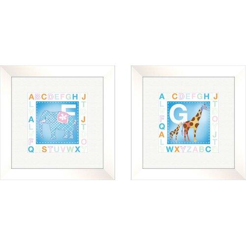 Pro Tour Memorabilia 2 Piece Juvenile Animal Alphabet Framed Art Set