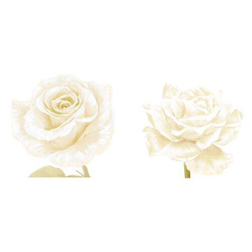 White Rose 2 Piece Graphic Art on Canvas Set