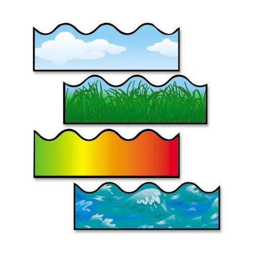 Frank Schaffer Publications/Carson Dellosa Publications Scalloped Border, Includes Clouds/Grass/Ocean Waves/Rainbow