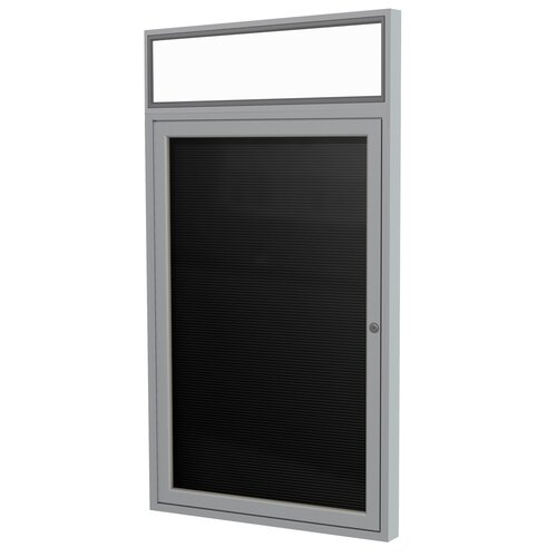 """Ghent 1-Door Aluminum Enclosed Flannel Letter Board w/Headliner - 3/4"""" Gothic Font White Letters"""