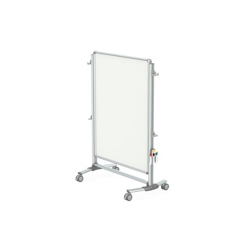 Ghent Nexus Jr. 2-Sided Mobile Porcelain Magnetic Whiteboard Partition - 4 Markers & Eraser