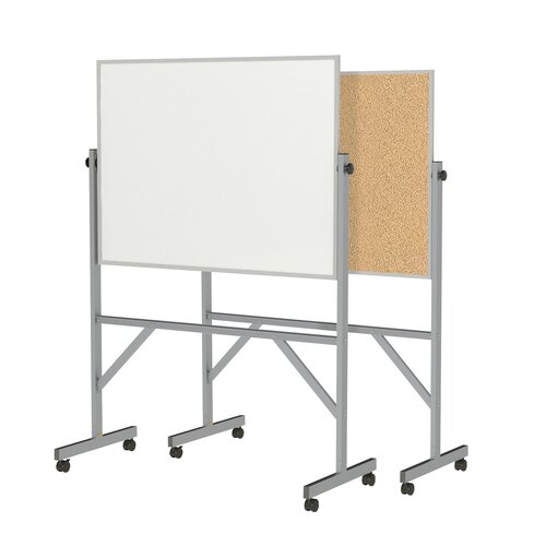 Ghent Aluminum Frame Reversible Acrylate Whiteboard/Natural Cork Board - 4 Markers & Eraser