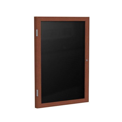 "Ghent 1-Door Wood Frame Enclosed Flannel Letter board - 3/4"" Gothic Font Letters"