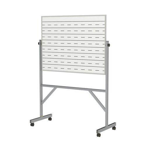 Ghent Aluminum Reversible Porcelain Magnetic Whiteboard Penmanship Side - 4 Markers & Eraser