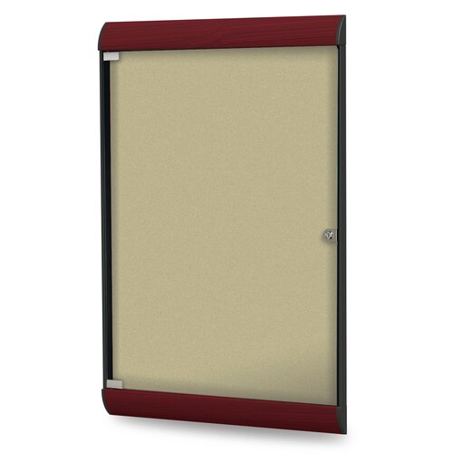 Ghent Silhouette Enclosed Wood Look PremaTak Bulletin Board
