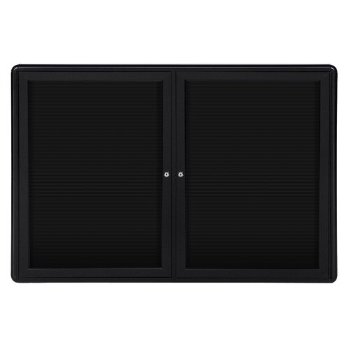 "Ghent 2-Door Ovation Aluminum Frame Felt Letter Board - 3/4"" Gothic Font White Letters"