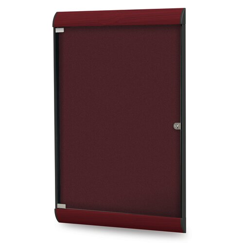 "Ghent 6.13"" x 2' 3.75"" 1 Door Silhouette Enclosed Bulletin Board"