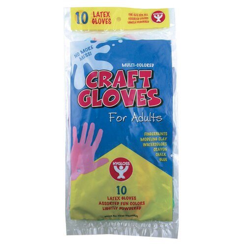 Hygloss Products Inc Craft Gloves Adult Size 10 P