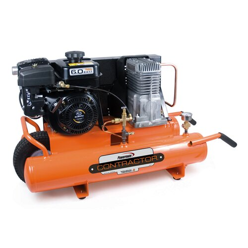 Powermate 8 Gallon Contractor Subaru Powered Oil Lubricated Belt Drive Air Compressor