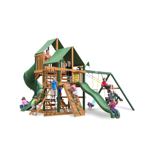 Gorilla Playsets Great Skye I Swing Set with Green Vinyl Canopy