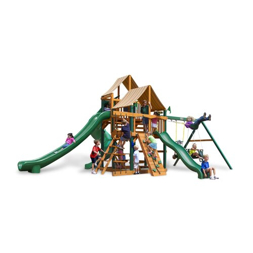 Gorilla Playsets Great Skye II Swing Set with Western Ginger Sunbrella Canopy
