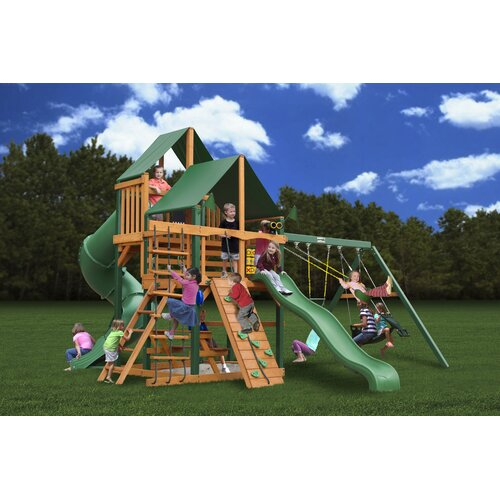 Gorilla Playsets Great Skye I Swing Set with Canvas Green Sunbrella Canopy
