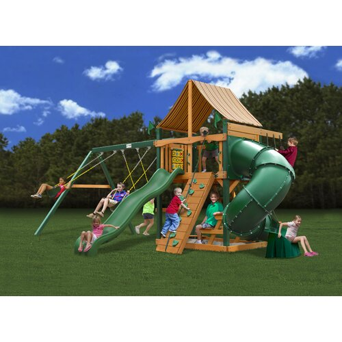 Gorilla Playsets Mountaineer Swing Set with Western Ginger Sunbrella Canopy