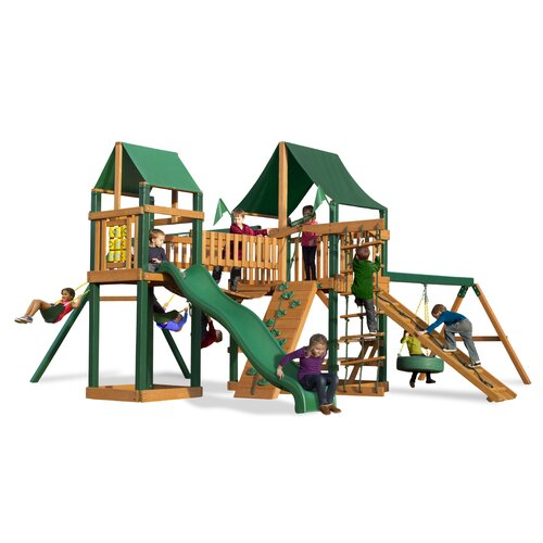 Gorilla Playsets Pioneer Peak Swing Set with Canvas Green Sunbrella Canopy