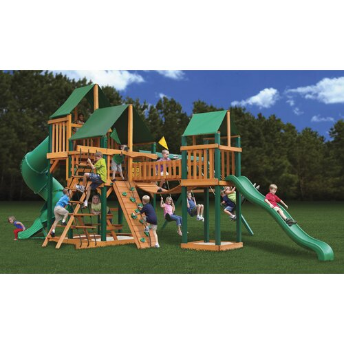 Gorilla Playsets Treasure Trove Swing Set with Canvas Green Sunbrella Canopy