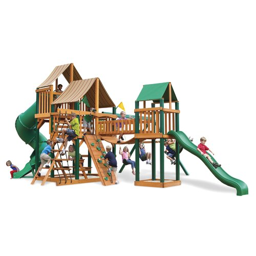 Gorilla Playsets Treasure Trove Swing Set with Western Ginger Sunbrella Canopy