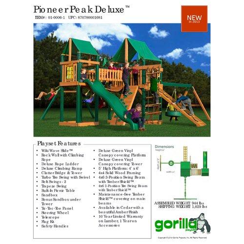 Gorilla Playsets Pioneer Peak Swing Set with Green Vinyl Canopy