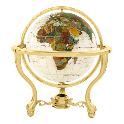 "Alexander Kalifano 9"" Full Mop Commander Globe with Three Leg Stand in Gold"