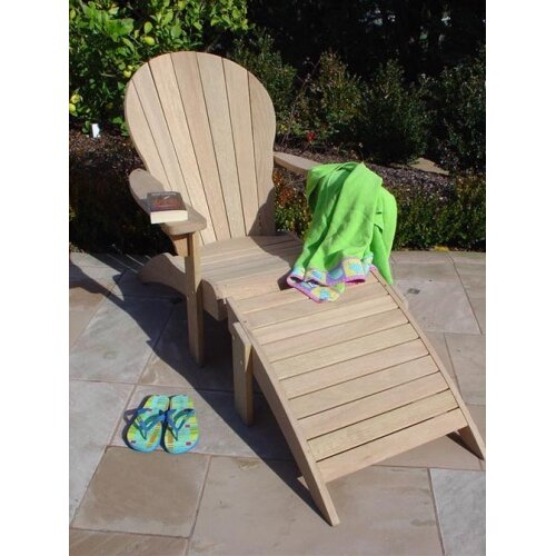 Royal Teak by Lanza Products Roble Wood Adirondack Chair with Ottoman