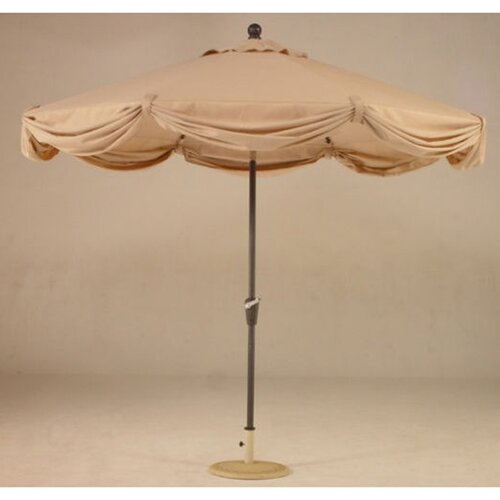 Royal Teak by Lanza Products 9' LED Light Scallop Market Umbrella with Netting