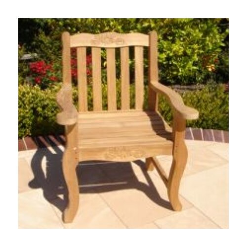 Royal Teak by Lanza Products Teakwood Double Rose Dining Arm Chair