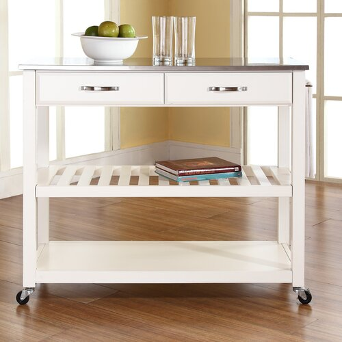 crosley kitchen island with stainless steel top amp reviews alcott hill bernice kitchen island with stainless steel