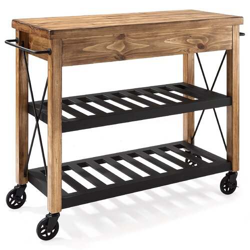 Crosley Furniture Cf3008 Na Roots Rack Industrial Kitchen Cart: Crosley Kitchen Cart With Wood Top I & Reviews