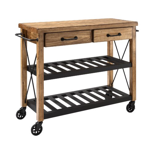 crosley kitchen cart with wood top i reviews wayfair