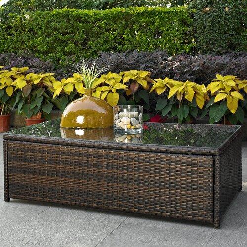 Crosley Palm Harbor Outdoor Wicker Glass Top Coffee Table