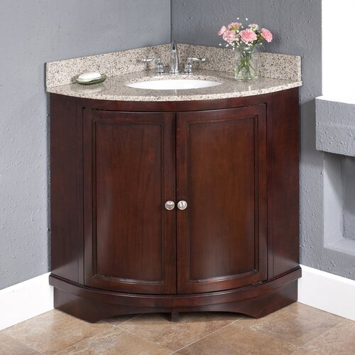"Lanza Corner 38"" Vanity Set with Backsplashes"