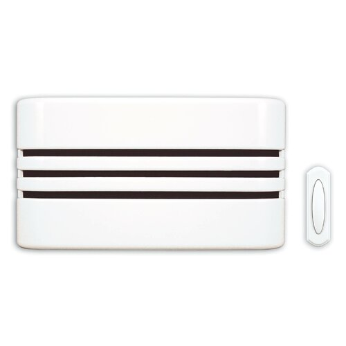 Heath-Zenith Wireless Battery Operated Door Chime Kit with White Linear Design Cover