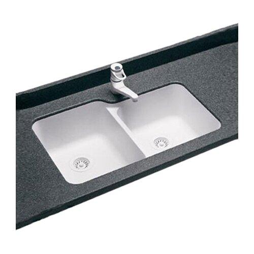 "Swanstone Swanstone Classics 33"" x 21.25"" Undermount Double Bowl Kitchen Sink"