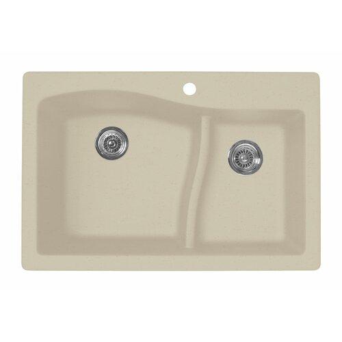 "Swanstone Swanstone Classics 33"" x 22"" Large/Small Bowl Kitchen Sink"
