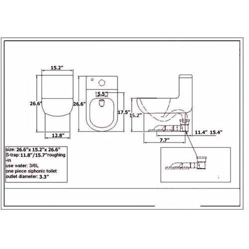 Fresca Antila Dual Flush 0.8 GPF / 1.6 GPF Elongated 1 Piece Toilet with Soft Close Seat
