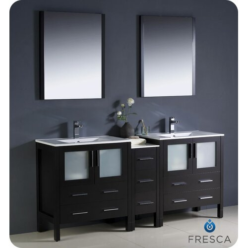 """Fresca Torino 72"""" Modern Double Sink Bathroom Vanity Set with Side Cabinet and Undermount Sinks"""
