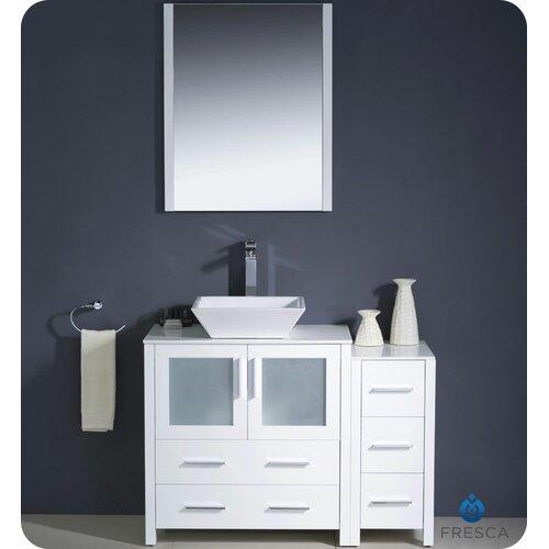 "Fresca Torino 42"" Modern Bathroom Vanity Set with Side Cabinet and Vessel Sink"