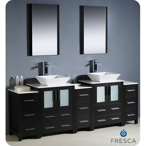 "Fresca Torino 84"" Modern Double Sink Bathroom Vanity Set with 3 Side Cabinets and Vessel Sinks"