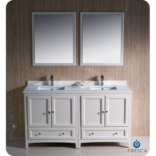 "Fresca Oxford 60"" Traditional Double Sink Bathroom Vanity Set"